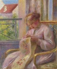 jeune femme brodant à la fenêtre by pierre-auguste renoir
