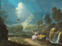 saint luc dans un paysage by gabriel perelle