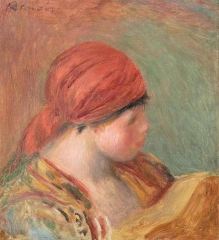 jeune femme au fichu, étude pour la femme à la guitare (study) by pierre-auguste renoir