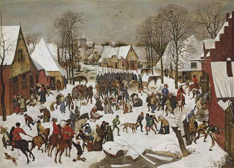 a winter landscape with the massacre of the innocents by pieter brueghel the younger