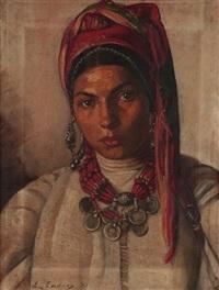 portrait de jeune africaine au turban rose et vert by carlos abascal