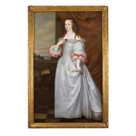 portrait dune jeune femme en pied portant une robe grise avec des rubans rouges aux manches by anglo dutch school 17