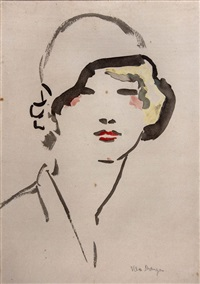 woman with hat by kees van dongen