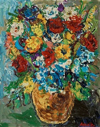 still life with flowers by albin amelin