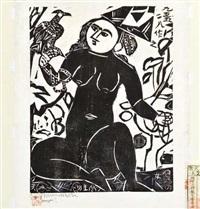 a goddess with a falcon by shiko munakata