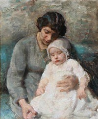 portrait of a mother with her daugther by julius paulsen