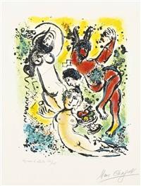 sur la terre des dieux : one print by marc chagall