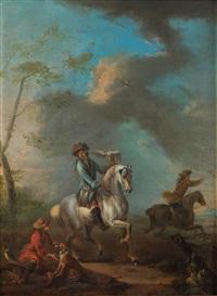 zwei reitende jäger mit falken, diener und hunden by august querfurt