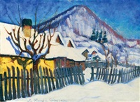 snow-covered nagybánya by géza kádár