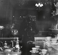 snapping my reflection in antique shop window, rue de l'odéon, paris by ilse bing
