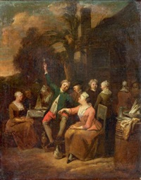 scène de cabaret en plein air by jan baptist lambrechts