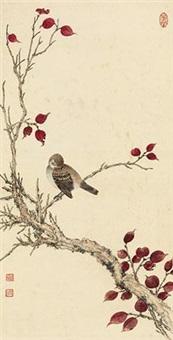 红枫栖鸟 by huang junbi
