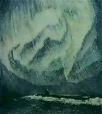 sous-marin dans l'aurore boreal by youri mochkin