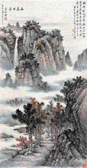 漫步寻幽 立轴 设色纸本 (painted in 1984 landscapes) by huang junbi