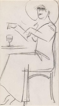 café study, paris by john duncan fergusson