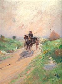 charette dans le chemin by louis raoul arus