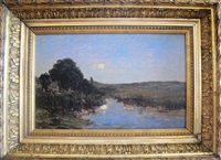 clair de lune, étang aux environs de brive by louis alexandre cabié