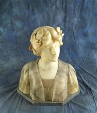 buste de jeune femme aux lauriers by gustave van vaerenbergh
