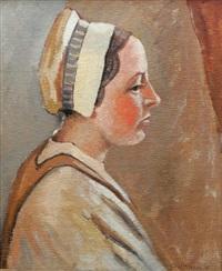 porträtt föreställande kvinna i hätta by axel nilsson