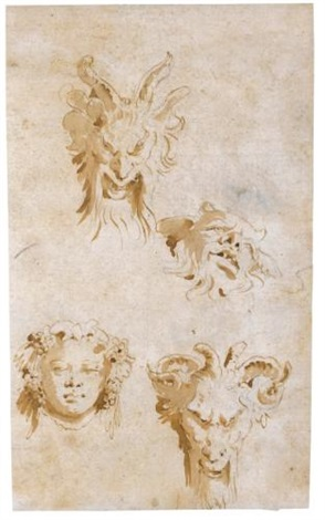 a sheet of four head studies three satyrs and bacchus by giovanni battista tiepolo