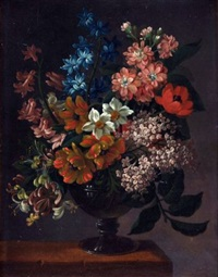 still life of mixed flowers in a vase on a ledge (study) by james (sillet) sillett
