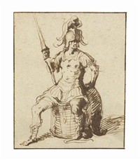 a warrior holding a lance seated on a drum by jacques de gheyn ii