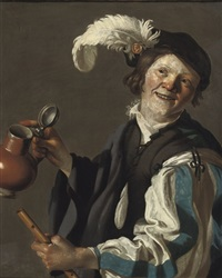 a boy holding a flute and jug by hendrick terbrugghen