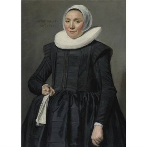 portrait of a woman holding a handkerchief by frans hals the elder