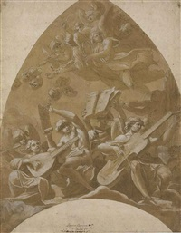 angels and putti making music in the clouds: design for a vault by lucio massari