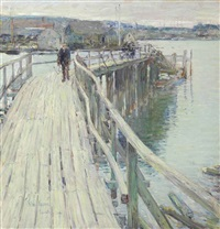dock scene, gloucester by childe hassam