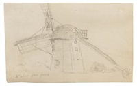 study - windmill by albert pinkham ryder