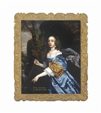 portrait of a lady, traditionally identified as jane cotton (1648-1707), as a shepherdess, three-quarter-length, in a blue dress with pearl... by sir peter lely