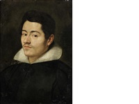 portrait of a gentleman, bust-length, in a black coat and white collar by francisco pacheco