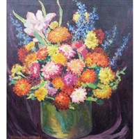 still life with zinnias by minnie harms neebe