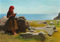 coastal scene with a little girl reading, presumably from bornholm by anton laurids johannes dorph