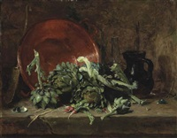 still life with artichokes by philippe rousseau