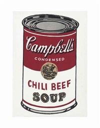 andy warhol campbell's soup can, chili beef, 1962 by richard pettibone
