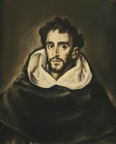 portrait of fray hortensio félix paravicino in black robes by el greco