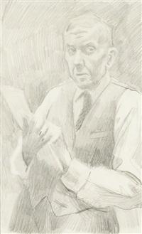 autoportret ze szkicownikiem by stanislaw kamocki