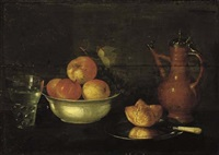 apples and grapes in a porcelain bowl, a bread roll on a pewter plate, a glass of water and a jug by cornelis jacobsz. delff