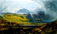 llyn crafnant - moel siabed in the distance, north wales by charles pettitt