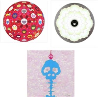 flower ball (3-d) red cliff/ lotus flower white/ bokan - camouflage pink (set of 3) by takashi murakami