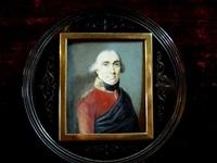 portrait d'homme en uniforme brun-rouge et manteau bleu by johann heinrich schmidt