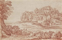 personnages sur un chemin, un village à l'arrière-plan by gaspard dughet