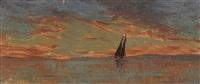 coucher de soleil sur le léman by francois-louis-david bocion
