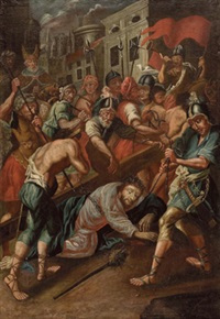 jesus fällt unter dem kreuz, (mit blick auf ein stadtviertel von jerusalem) by austrian school-tyrolean (17)