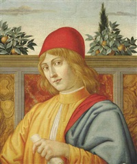 portrait of a young man, bust-length, possibly piero lorenzo de medici (1492-1519, in a yellow cloak and red hat, a scroll in his left hand by sandro botticelli