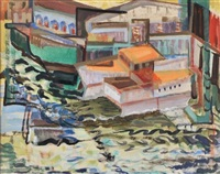 boats on a river by clara l. deike