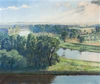 confluence of the elbe and vltava below mělník by adolf j. (jelinek) alex