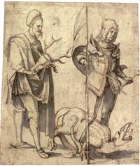 saint hubert and saint george by hans (suess von) kulmbach